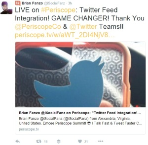 fanzo twitter integration periscope